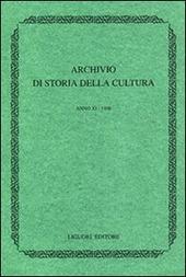 Archivio di storia della cultura (1997). Con indice