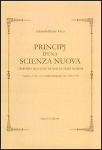 Libro Principj d'una scienza nuova d'intorno alla comune natura delle nazioni (Napoli, 1730). Con postille autografe (ms. XIII H 59) Giambattista Vico