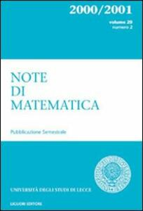 Note di matematica. Vol. 20\2