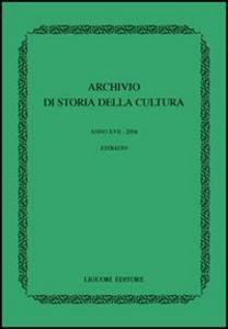 Libro Archivio di storia della cultura (2004)