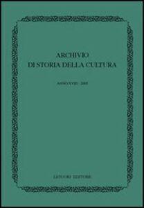 Libro Archivio di storia della cultura (2005)