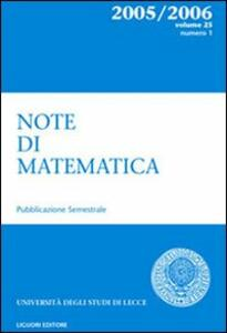 Note di matematica. Vol. 25\1