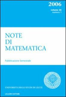 Note di matematica. Vol. 26\1