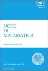 Note di matematica. Vol. 27\2