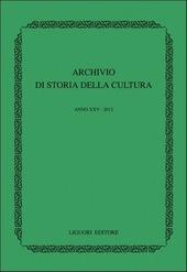 Archivio di storia della cultura (2012)