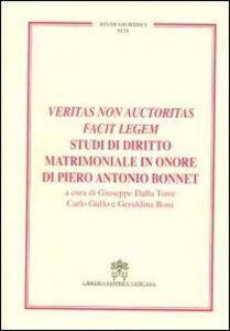 Libro Veritas non auctoritas facit legem studi di diritto matrimoniale in onore di Pietro Antonio Bonnet