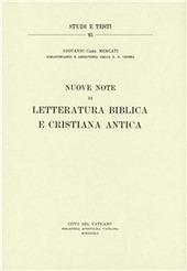 Nuove note di letteratura biblica e cristiana antica