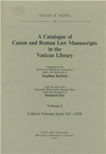 Libro Catalogue of canon and roman law manuscrits in the Vatican Library (A). Vol. 1: Codices vaticani latini 541-2299. Stephan Kuttner , Reinhard Elze
