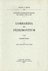 Rationes decimarum Italiae nei secoli XIII e XIV. Lombardia et Pedemontium