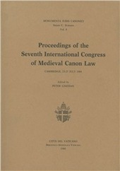 Proceedings of the 7th International congress of medieval canon law (Cambridge, 1984)