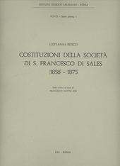Costituzioni della Società di S. Francesco di Sales (1858-1875)