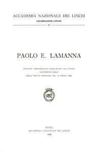 Libro Paolo E. Lamanna Giovanni Calò