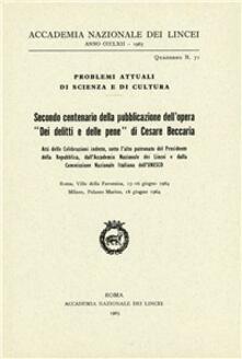 Secondo centenario della pubblicazione dell'opera «Dei delitti e delle pene» di Cesare Beccaria - copertina