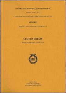 Lectio brevis (anno accademico 2010-2011)