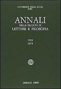 Annali della facoltà lettere e filosofia Università di Bari. Vol. 12