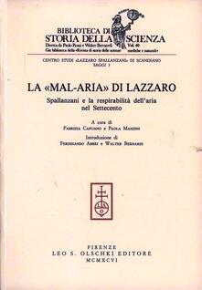 La mal-aria di Lazzaro Spallanzani e la respirabilità dell'aria nel Settecento - copertina