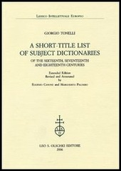 A Short-title List of Subject Dictionaries of the Sixteenth, Seventeenth and Eighteenth Centuries. Extended Edition