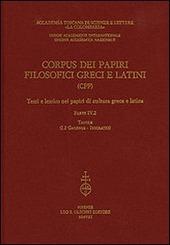 Corpus dei papiri filosofici greci e latini. Testi e lessico nei papiri di cultura greca e latina. Vol. 4/2: Galenus-Isocrates.