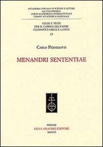 Foto Cover di Menandri Sententiae, Libro di Carlo Pernigotti, edito da Olschki