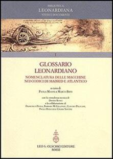 Glossario Leonardiano. Nomenclatura delle macchine nei codici di Madrid e Atlantico - copertina