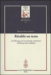 Rétablir un texte. Le «Discours de la servitude volontaire» d'Etienne de La Boétie