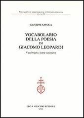 Vocabolario della poesia di Giacomo Leopardi. Vocabolario, liste e statistiche