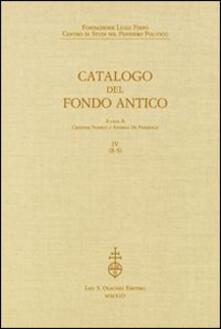 Radiospeed.it Fondazione Luigi Firpo. Centro di studi sul pensiero politico. Catalogo del fondo antico. Vol. 4: R-S. Image