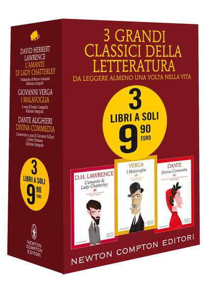 3 grandi classici: L'amante di Lady Chatterley-I Malavoglia-Divina commedia. Ediz. integrale - David Herbert Lawrence,Giovanni Verga,Dante Alighieri - copertina