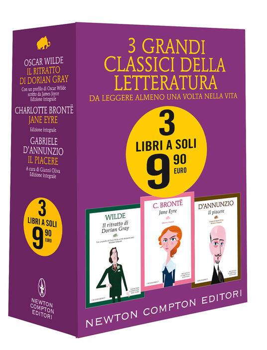3 grandi classici: Il ritratto di Dorian Gray-Jane Eyre-Il piacere. Ediz. integrale - Charlotte Brontë,Oscar Wilde,Gabriele D'Annunzio - copertina