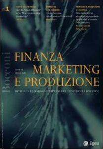 Finanza marketing e produzione (2001). Vol. 1