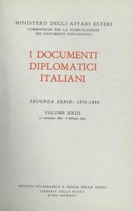 Libro I documenti diplomatici italiani. Serie 2ª (1870-1896). Vol. 23: 1º settembre 1889-8 febbraio 1891.