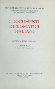 Libro I documenti diplomatici italiani. Serie 2ª (1870-1896). Vol. 26: 15 dicembre 1893-31 marzo 1895.