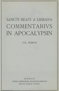 Libro Commentarius in Apocalypsin. Vol. 1 Beato di Liebana