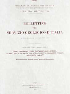 Primi programmi per la carta geologica d'Italia. Verbali delle adunanze del Regio comitato geologico d'Italia negli anni 1868-1877