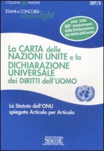 La carta delle Nazioni Unite e la Dichiarazione universale dei diritti dell'uomo