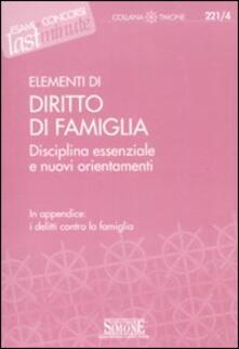 Osteriacasadimare.it Elementi di diritto di famiglia. Disciplina essenziale e nuovi orientamenti Image