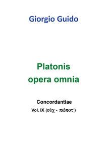 Platonis opera omnia. Concordantiae. Vol. 9