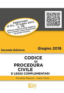 Codice di procedura civile e leggi complementari - Riccardo Mazzon,Dario Primo Triolo - copertina
