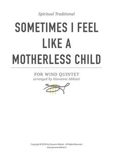 Sometimes I Feel Like a Motherless Child (Spiritual Traditional) for Wind Quintet