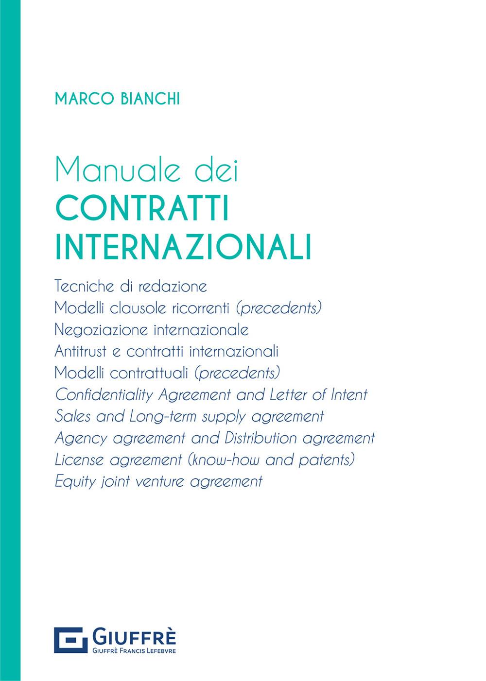 Image of Manuale dei contratti internazionali