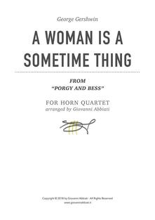 """George Gershwin A Woman Is A Sometime Thing (from """"Porgy and Bess"""") for Horn Quartet"""