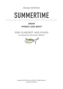 "George Gershwin Summertime (from ""Porgy and Bess"") for Clarinet and Piano"