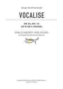 Sergei Rachmaninoff Vocalise Op. 34, No. 14 (in B or C minor) for Clarinet and Piano