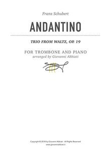 Franz Schubert Andantino (Trio From Waltz, Op. 19) for Trombone and Piano
