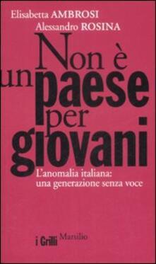 Non è un paese per giovani. L'anomalia italiana: una generazione senza voce - Elisabetta Ambrosi,Alessandro Rosina - copertina