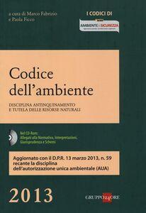 Foto Cover di Codice dell'ambiente. Disciplina antinquinamento e tutela delle risorse naturali. Con CD-ROM, Libro di  edito da Il Sole 24 Ore