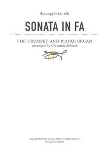Arcangelo Corelli Sonata in Fa for Trumpet and Piano or Organ