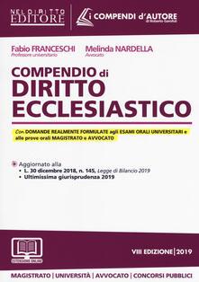 Compendio di diritto ecclesiastico. Con aggiornamento online - Fabio Franceschi,Melinda Nardella - copertina