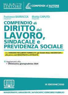 Ristorantezintonio.it Compendio di diritto del lavoro, sindacale e della previdenza sociale. Con aggiornamento online Image