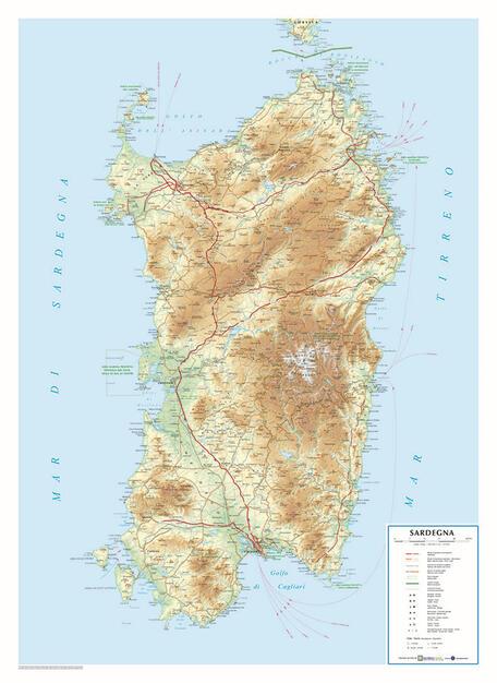 Cartina Sardegna Rilievo.Sardegna Scala 1 350 000 Carta In Rilievo Cm 65 6x90 5 Libro Global Map Ibs